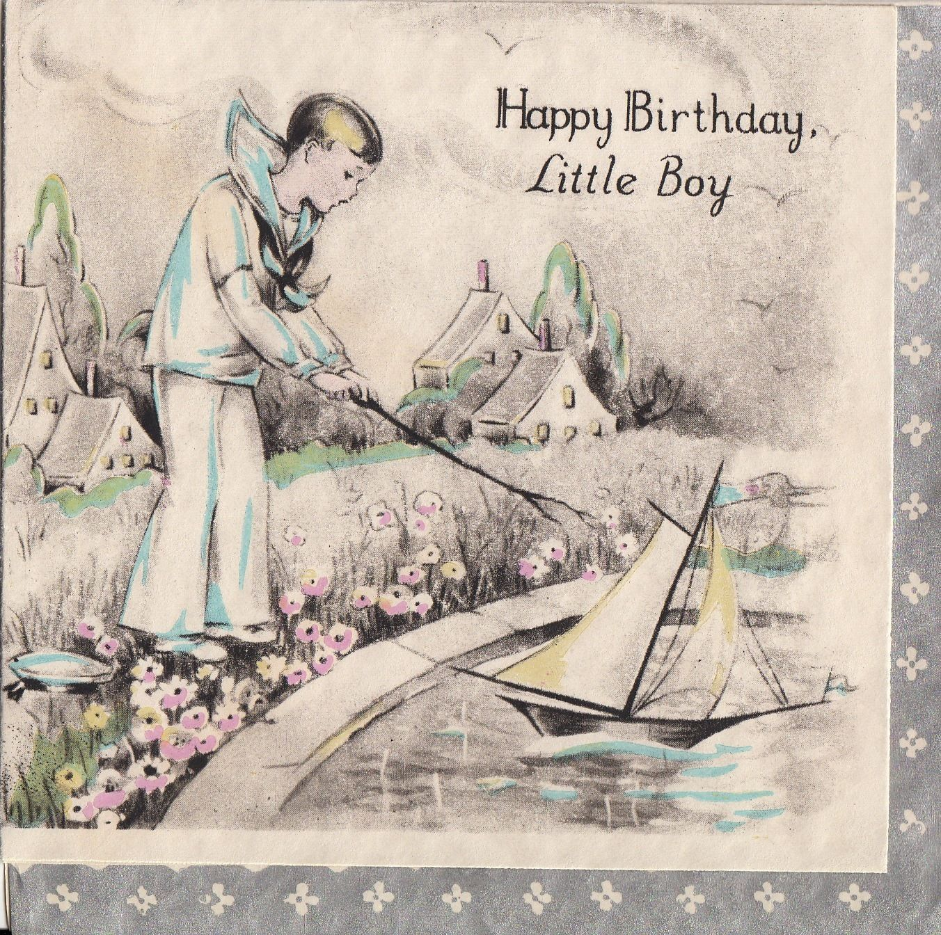 Vintage Greeting Card 1930s Juvenile Children Birthday Little Boy