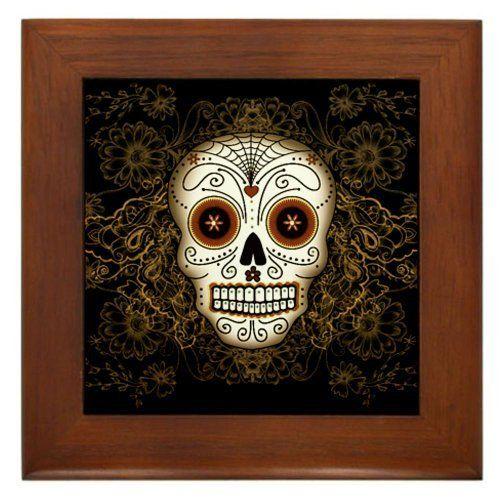 CafePress Framed Tile Day of The Dead Wedding Decorative Tile Wall Hanging