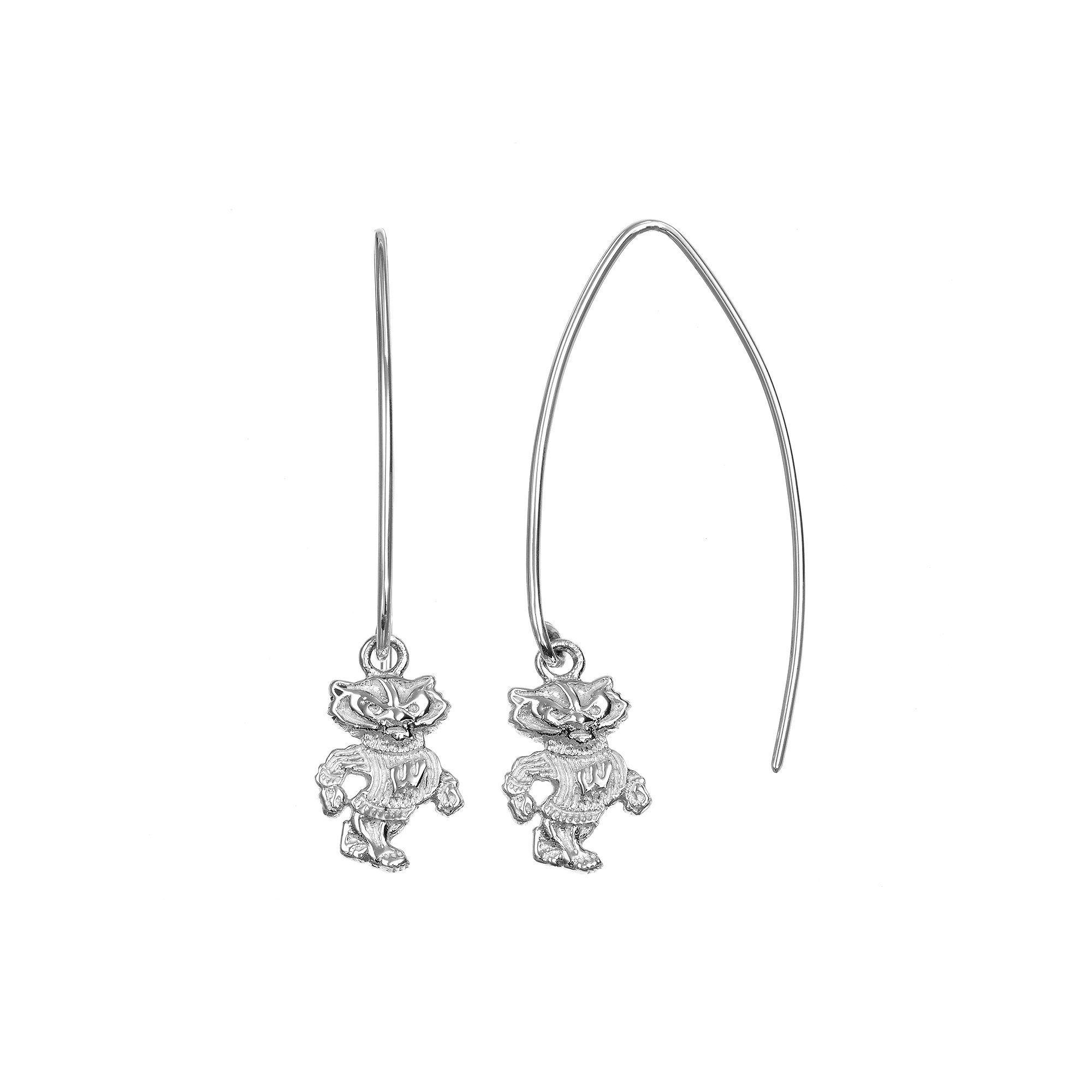 Dayna U Wisconsin Badgers Sterling Silver Hook Earrings, Women's, Grey