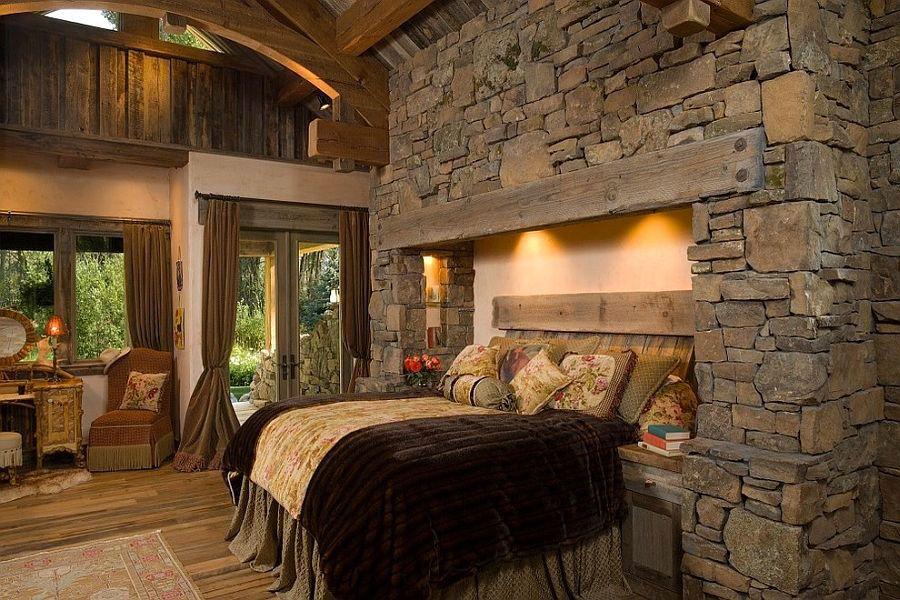 Camere Da Letto Rustiche Foto : Pareti rivestite in pietra per camere da letto classiche o moderne