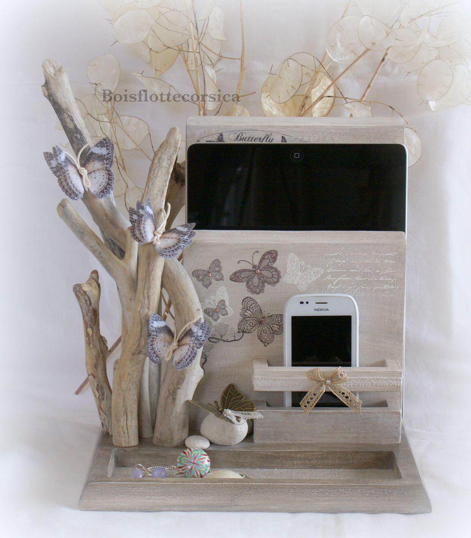 serviteur vide poches bois patin et bois flott pour. Black Bedroom Furniture Sets. Home Design Ideas