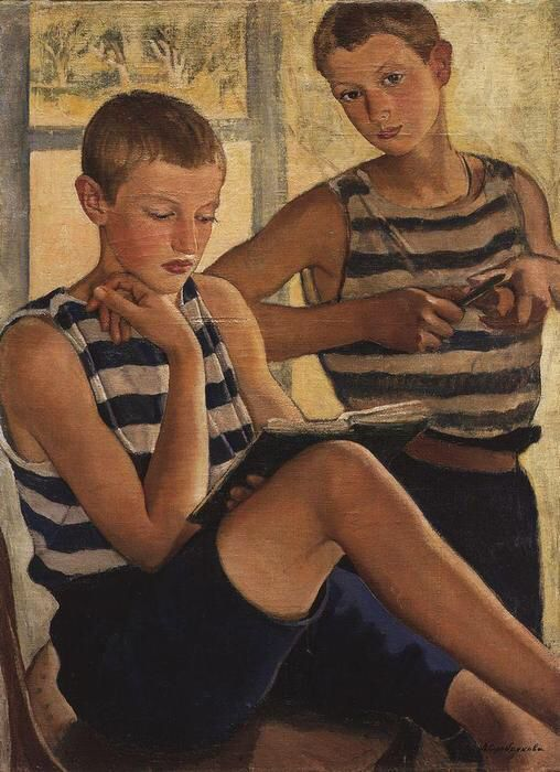 Imagen de http://es.wahooart.com/Art.nsf/O/8XZ8DW/$File/Zinaida-Serebriakova-Boys-in-sailor_s-striped-vests-.JPG.