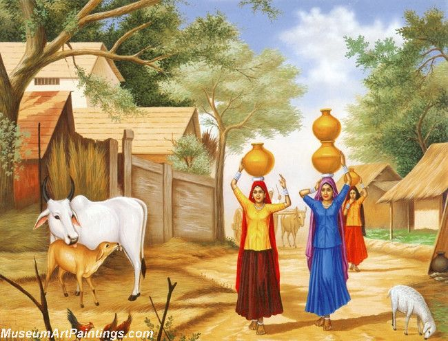 005 Indian Village Paintings Girls Going to Fetch Water