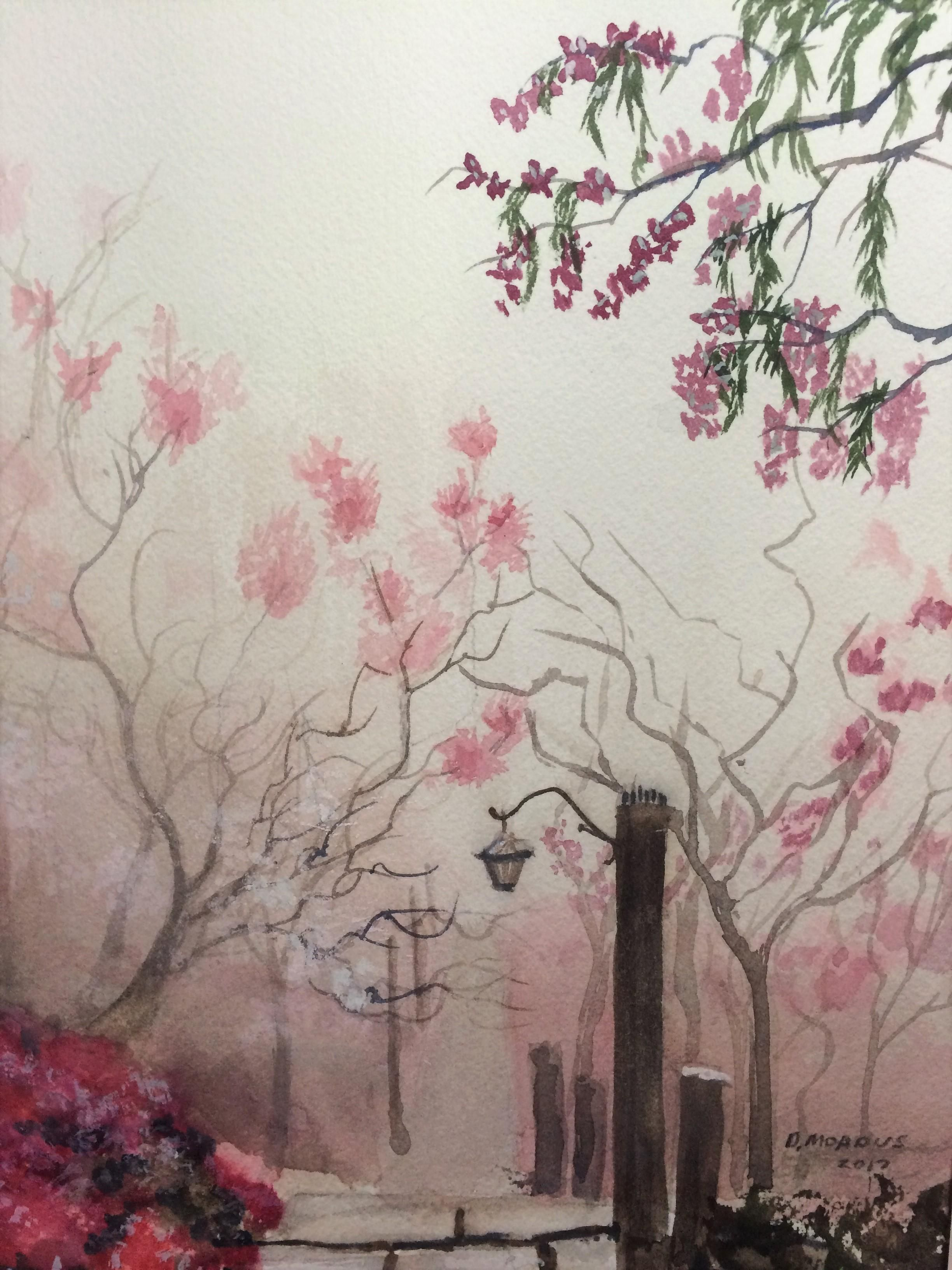 Spring Mist Watercolor 9x12 Art Watercolor Scenery Art