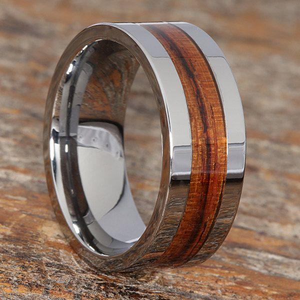 Redwood Inlay Wedding Band Tungsten Rings Tungsten Wedding Bands