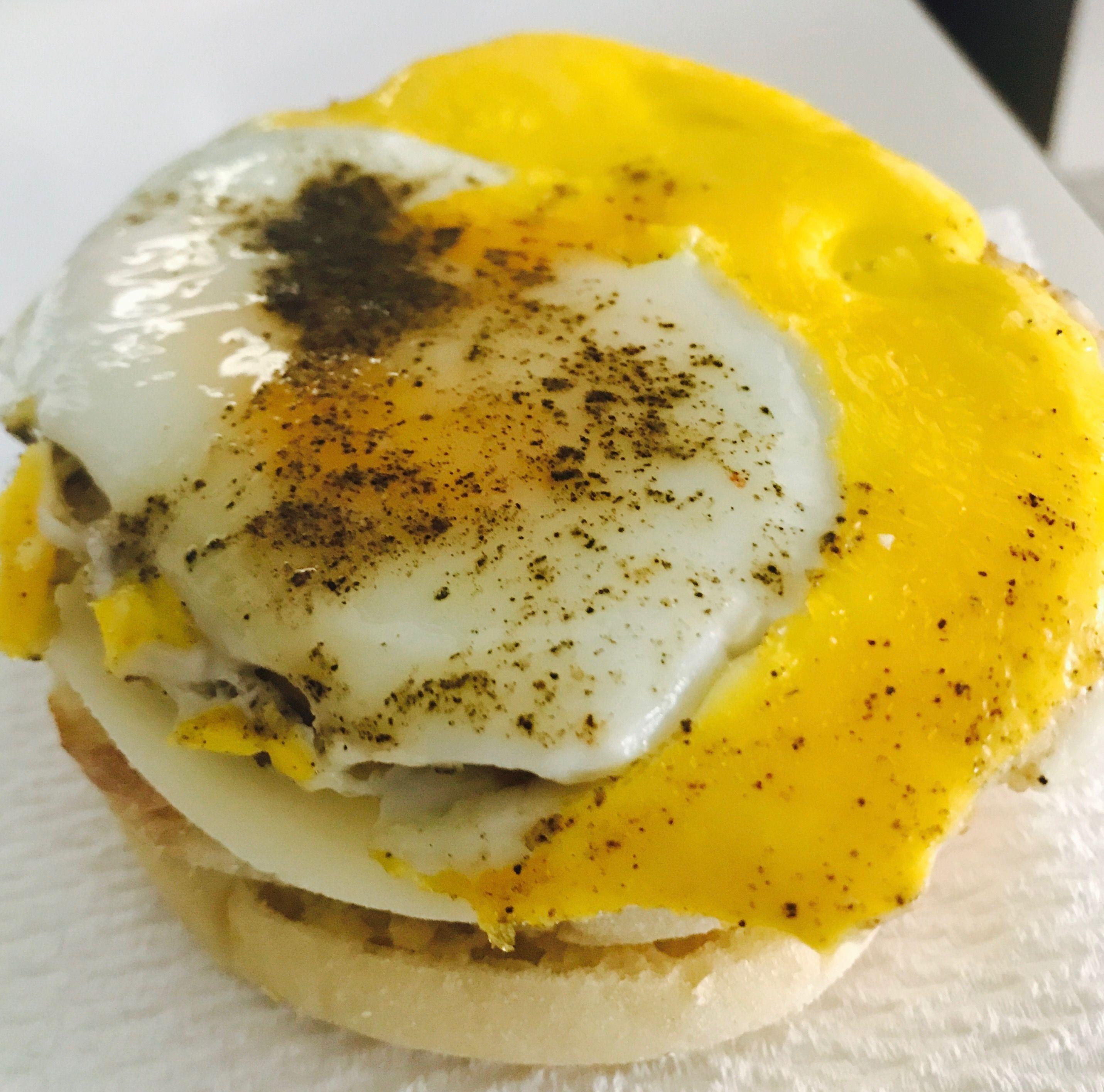 Home made breakfast sandwich english muffin sausage