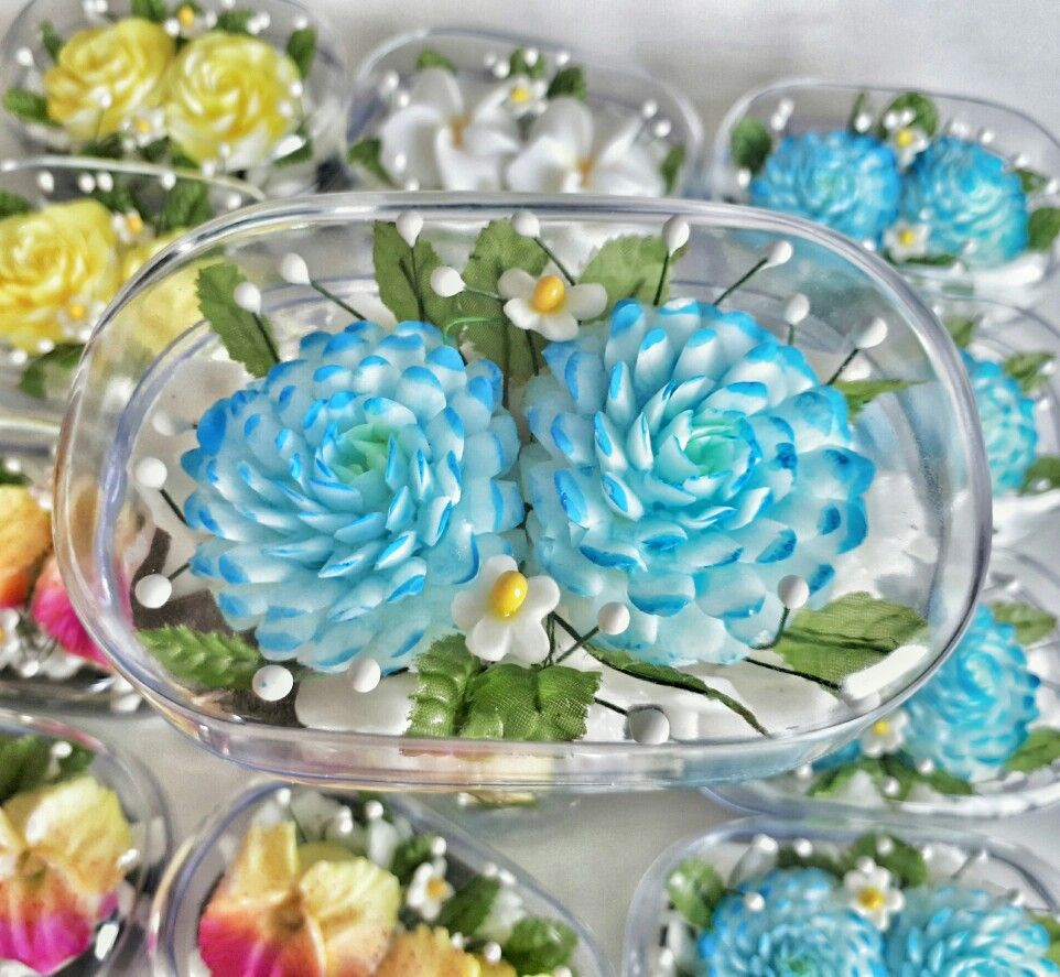 Zinnia Blue Flowers Hand Carved Soap Bar Jasmine Scented Handmade