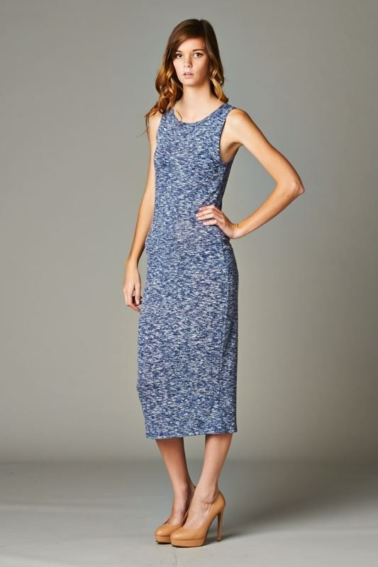 FashionGo | Cherish | D4033 Slightly fitted, sleeveless, crew neck midi dress. This dress is made with heavy weight sweater knit fabric that is soft, drapes well, and has great stretch. Fabric:70% Rayon, 25% Polyester, 5% Spandex Made In:U.S.A