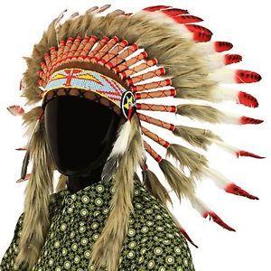 0c5012ec5b0e1 Tocado-de-jefe-indio-de-comercio-justo-con-plumas-rojas-y-manchas-negras