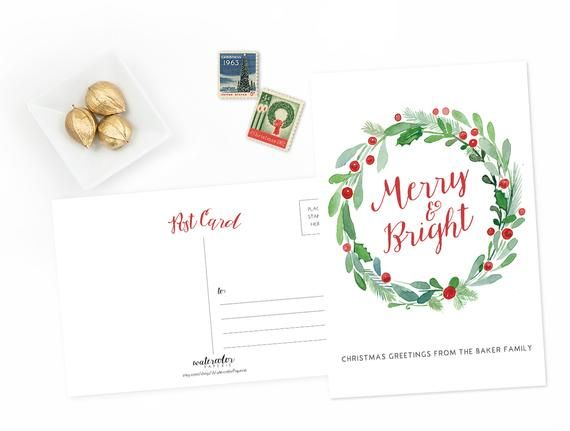Photo of Personalized Christmas Postcards – Set of 15 or 30 – Watercolor Floral Wreath Illustrated – Green Red Christmas – Holly