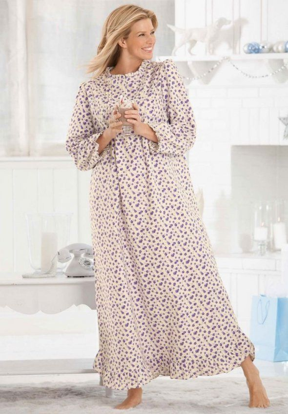 ladies long flannel nightgown - Google Search | Plus Size Nightgowns ...