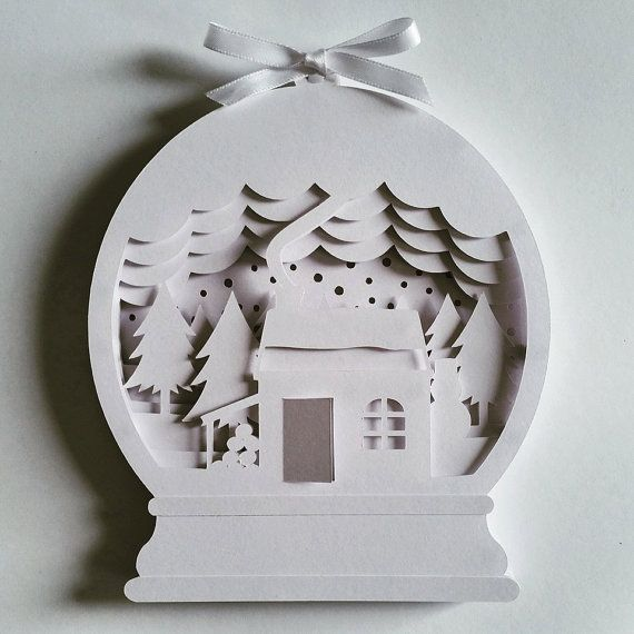 Christmas Snow Globe Diy Layered 3d Shadow Box Papercut Template Printable Pdf With Step By Step Tutorial Christmas Snow Globes Diy Diy Snow Globe Christmas Paper Crafts