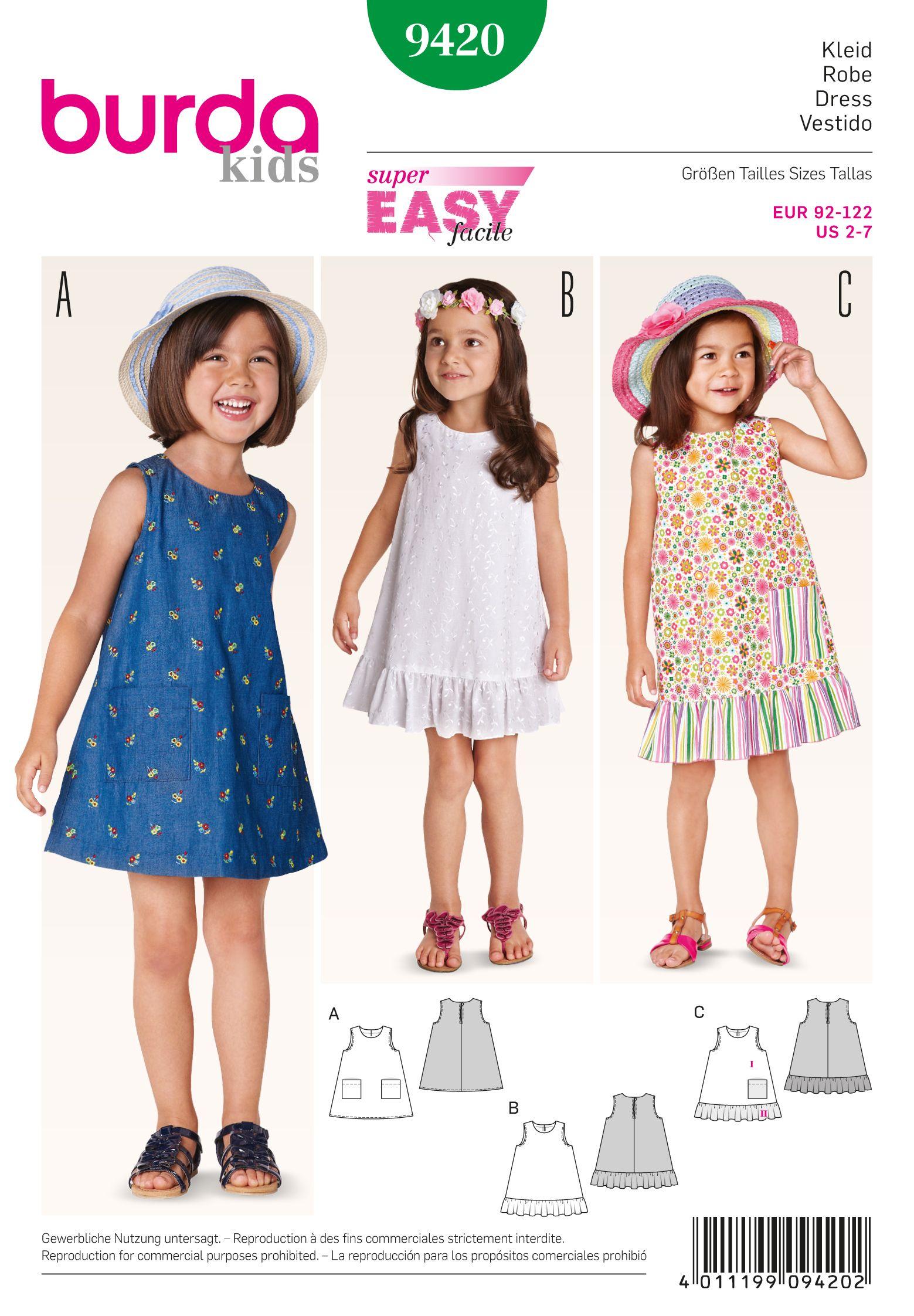 Patrones de corte burda 7903 muñecos vestidos talla 40-45cm