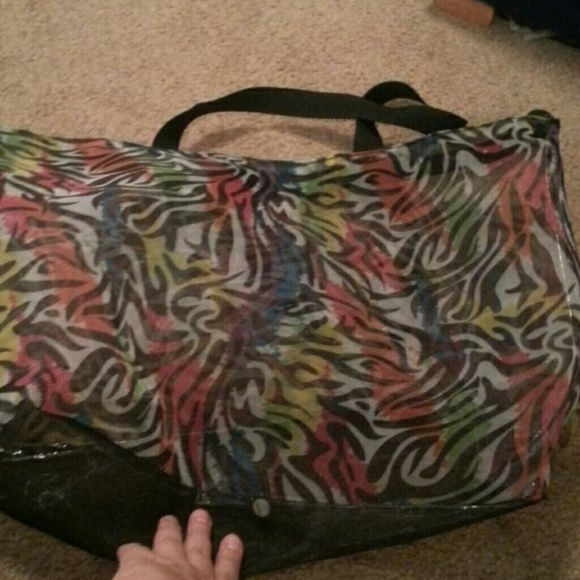 Zippered sheer tote Used maybe twice.. Bags Totes