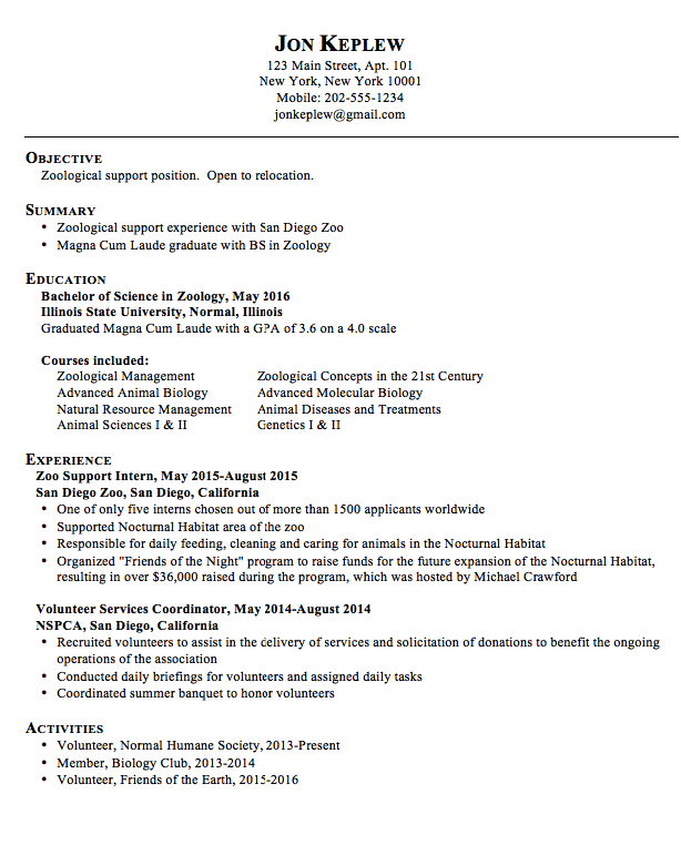 zoological resume examples httpexampleresumecvorgzoological resume - Animal Science Student Resume