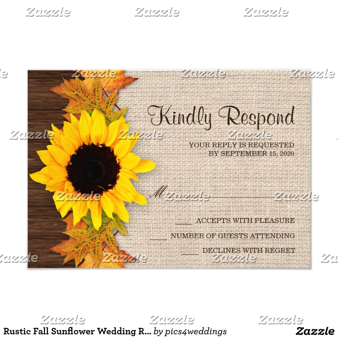 Rustic Fall Sunflower Wedding RSVP Cards