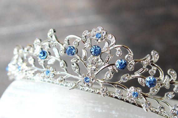 Something Blue Bridal Tiara, Swarovski Crystal Bridal Crown, Blue Tiara, Cinderella Tiara, Bridal Tiara