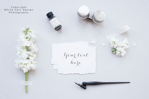 Floral calligraphy mock up by white hart design co on creative