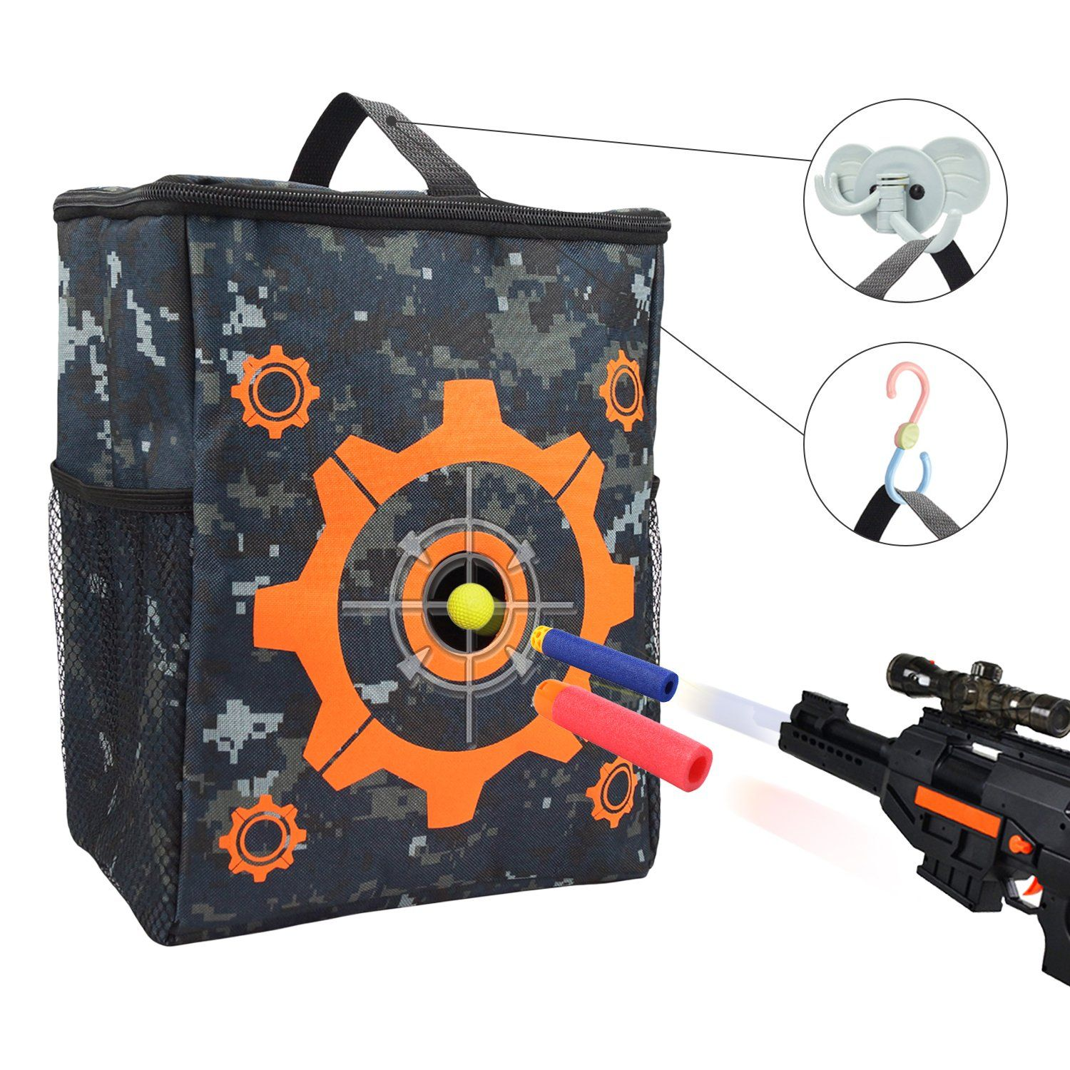 Target Pouch Storage Carry Equipment Bag with 2PCS Hooks for Nerf N-strike  Elite /