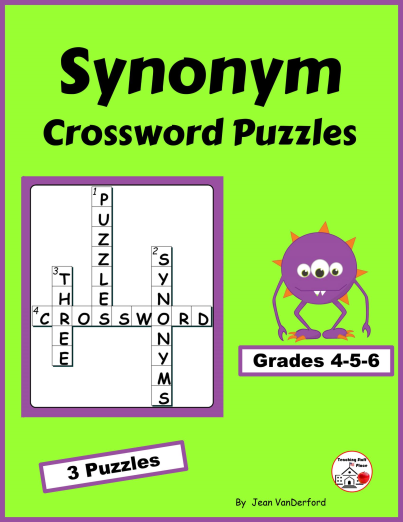 synonym crossword puzzles - grade 4-5-6 vocabulary