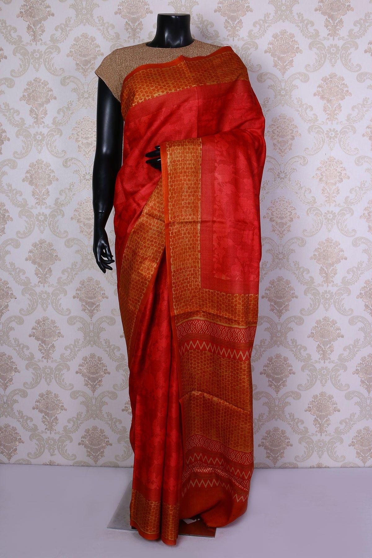 Maroon silk saree reddish orange pure tussar silk saree with printed border sr