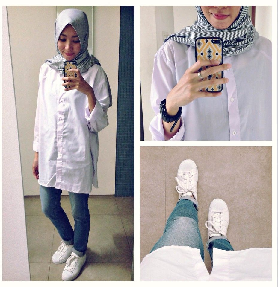 ootd. casual hijab outfit oversized white shirt, jeans, white sneakers  adidas superstar Syaifiena