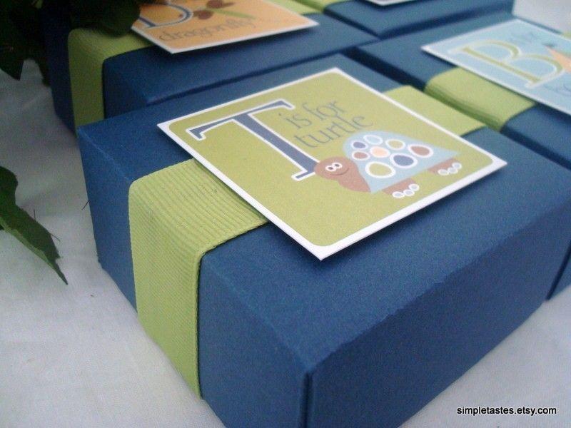 Navy Blue Alphabet Favor Boxes