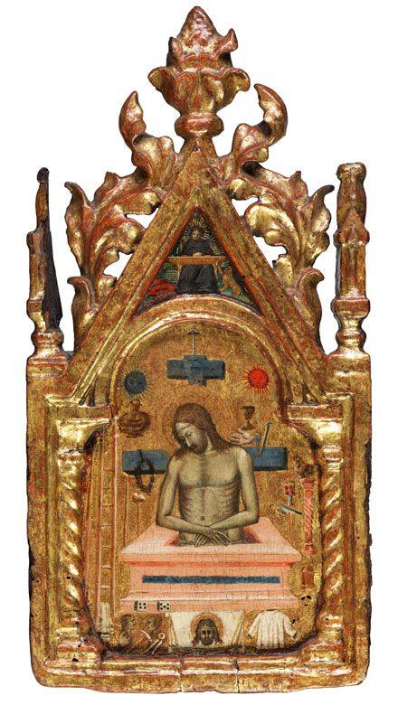 CHRISTUS ERHEBT SICH AUS DEM GRAB, MIT DEN ARMA CHRISTI Öl/ Tempera sowie Goldgrund auf Holz. 45 x 22,8 cm. Fest eingebunden in eine gotische Rahmung mit...