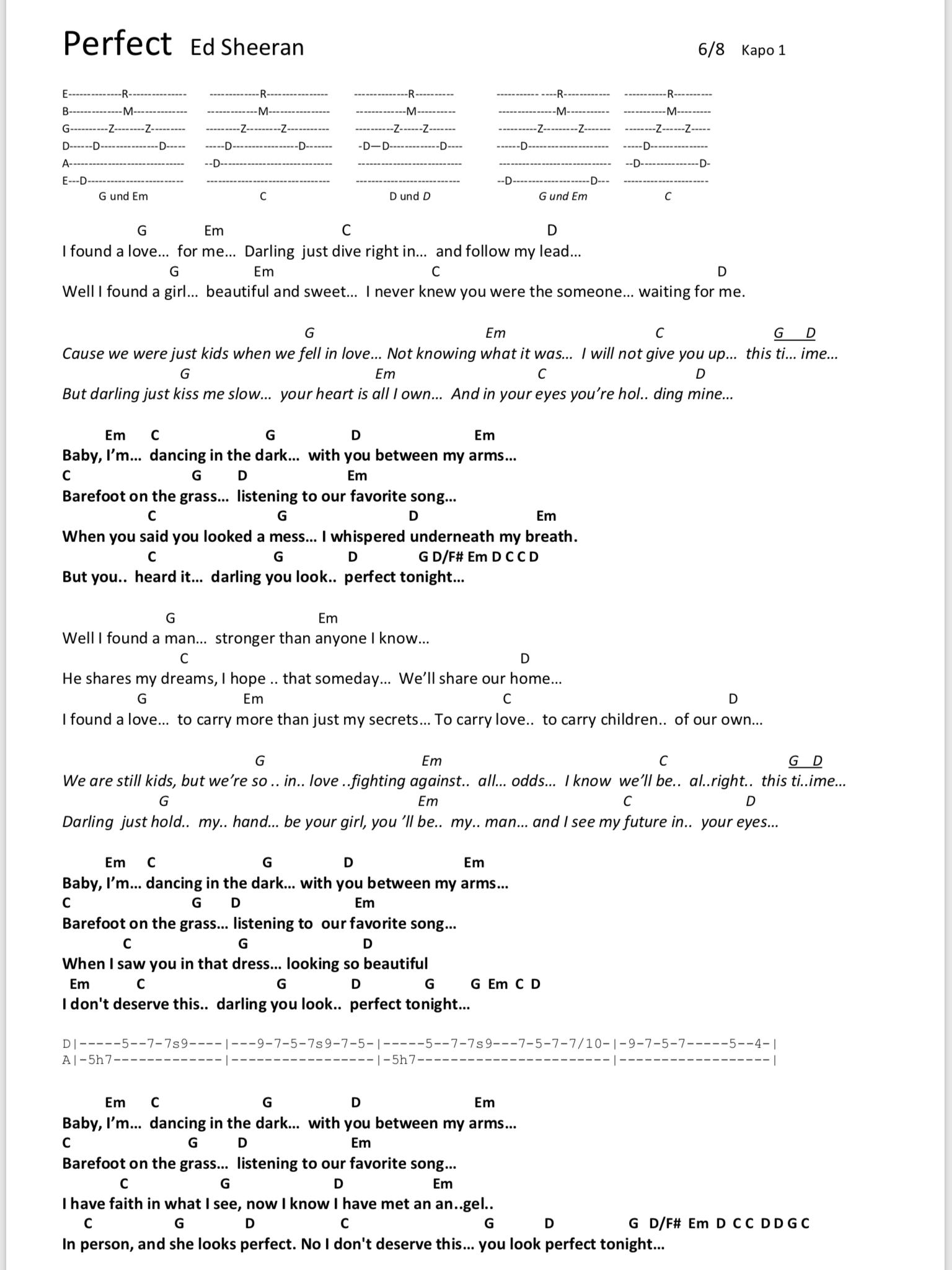 Perfect Songtext Deutsch