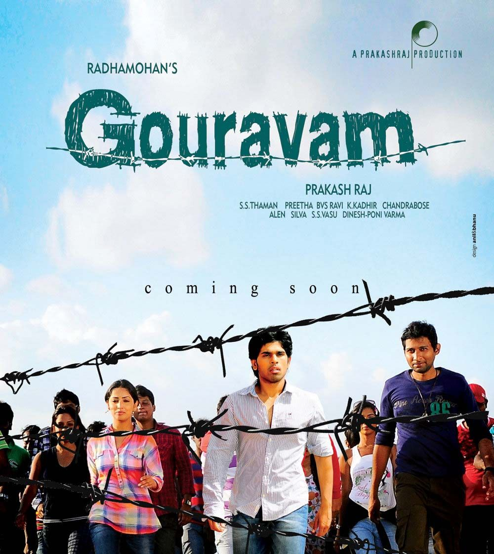 Gouravam an upcoming movie, releasing in both tamil & telugu this summer on 12 th April 2013 which is directed by Radha Mohan .This film Gouravam stars Allu Sirish,Yami gautam in lead roles and Prakash raj, Nassar,Sricharan ,Elango Kumaravel in supporting roles.This film is produced by Prakash Raj under name of Duet Movies  For booking click http://www.ticketnew.com/OnlineTheatre/online-movie-ticket-booking/tamilnadu-chennai/Gouravam-Tamil.html
