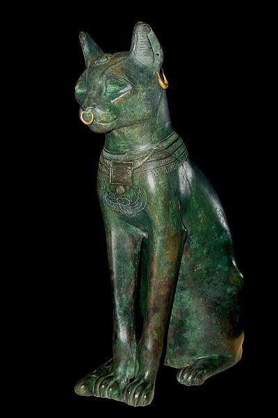 Gayer-Anderson Cat; Egyptian bronze, from the Late Period about 664-332 BC