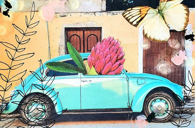 If you guessed pink you were  right!!! (@willow_blue_vintage ) . . . #analogcollage #analogcollageonpaper #collage_art #collageartist #ilovecollage #handcutcollage #handmadecollage #cutandpaste #papercollage #paperscissorsglue #vintageephemera #collageitup #collagist #vwbeetle #inspiredbynature #happyart #artsharelove #mixedmediacollage #collage #vintageart #icutpaper #theartlife #makearteveryday #imakeart #idreamincollage #inspirethroughart #instaartist #collageart #collagista #artcanchangethew