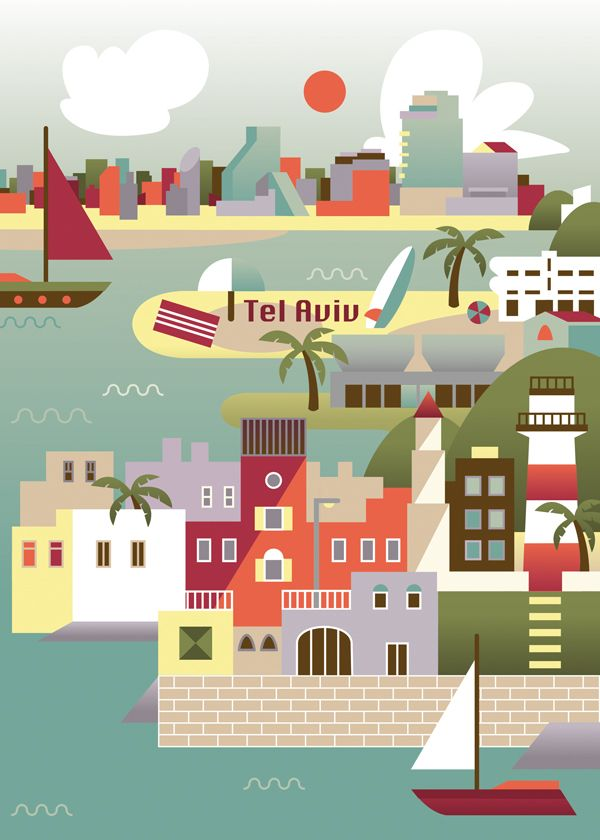 digital travel i the case of tel aviv tel aviv israel and travel posters. Black Bedroom Furniture Sets. Home Design Ideas