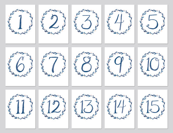 graphic relating to Printable Table Number identify Watercolor Wreath Desk Quantities, Blue Wreath Desk Quantities