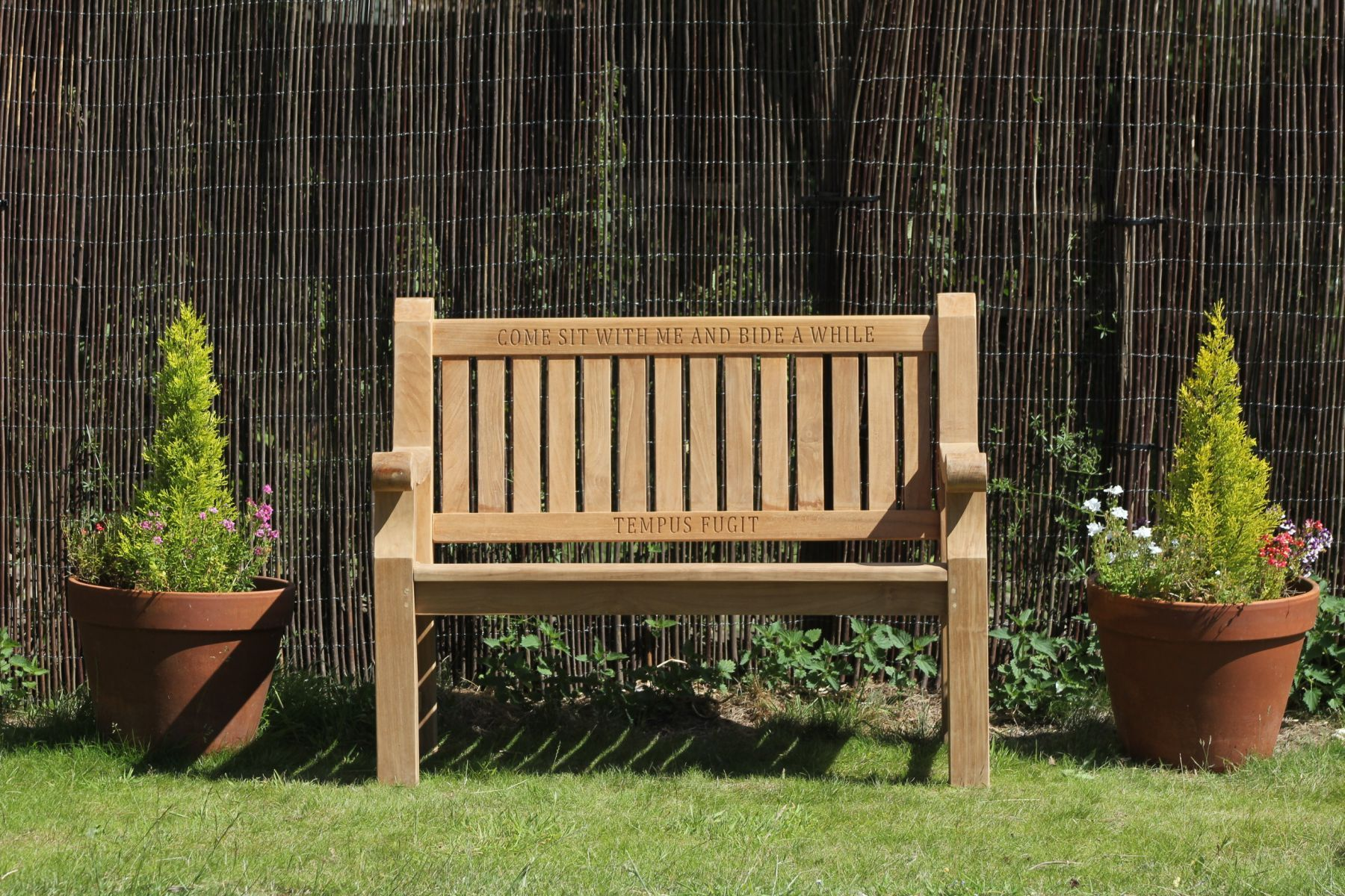 teak garden bench engraved in to the wood | Wood Carved Memorial ...
