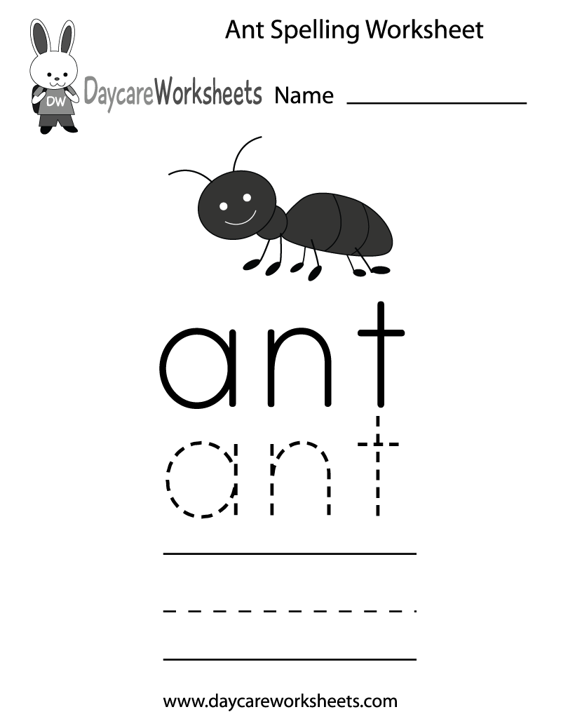 Learn and practice how to spell the word ant using this printable – Kindergarten Spelling Worksheets Free Printables