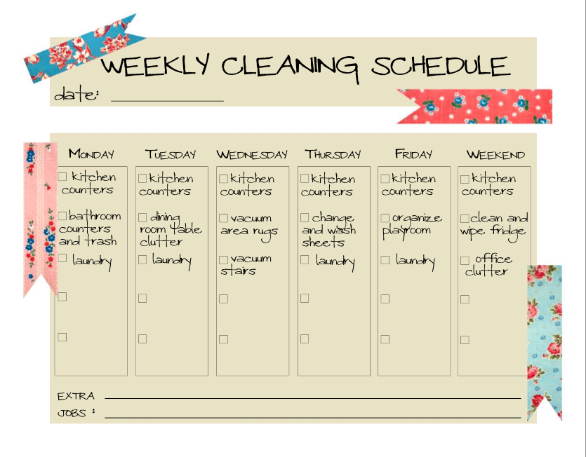 Weekly cleaning schedule printable cleaning scrubbing can wait weekly cleaning schedule printable maxwellsz