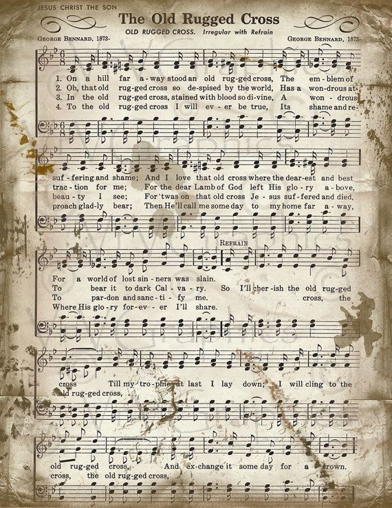The Old Rugged Cross Sheet Music Hymn By Vrvgraphics