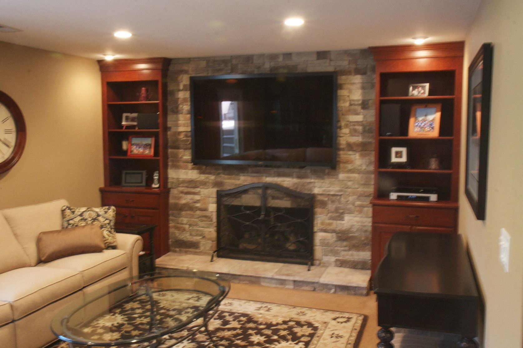 Ledge Stone Fireplace U0026 TV Installed Over Existing Brick Fireplace. Custom  Bookcases Were Added To