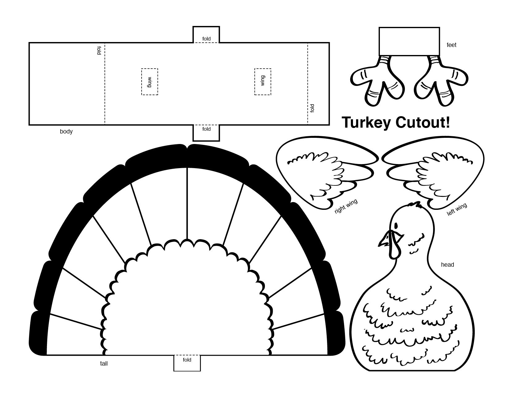Turkey Cut Outs Arts And Crafts