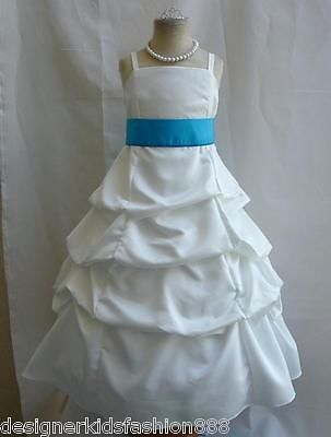 IVORY CORNFLOWER BLUE PICK UP BRIDESMAID PAGEANT WEDDING PARTY ...