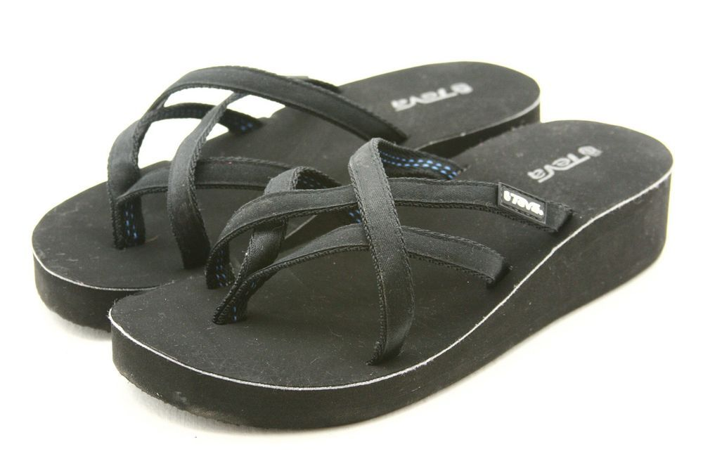 e0c02728944f TEVA Mandalyn Ola Mush sandals womens size 7 black Wedge Flip Flops thong   Teva  FlipFlops