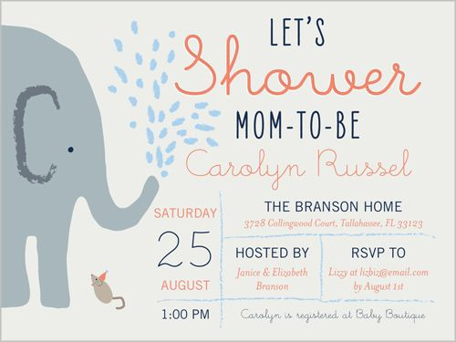 Baby Shower Invitation Elephant Shower Boy, Square Squares - baby shower invitation