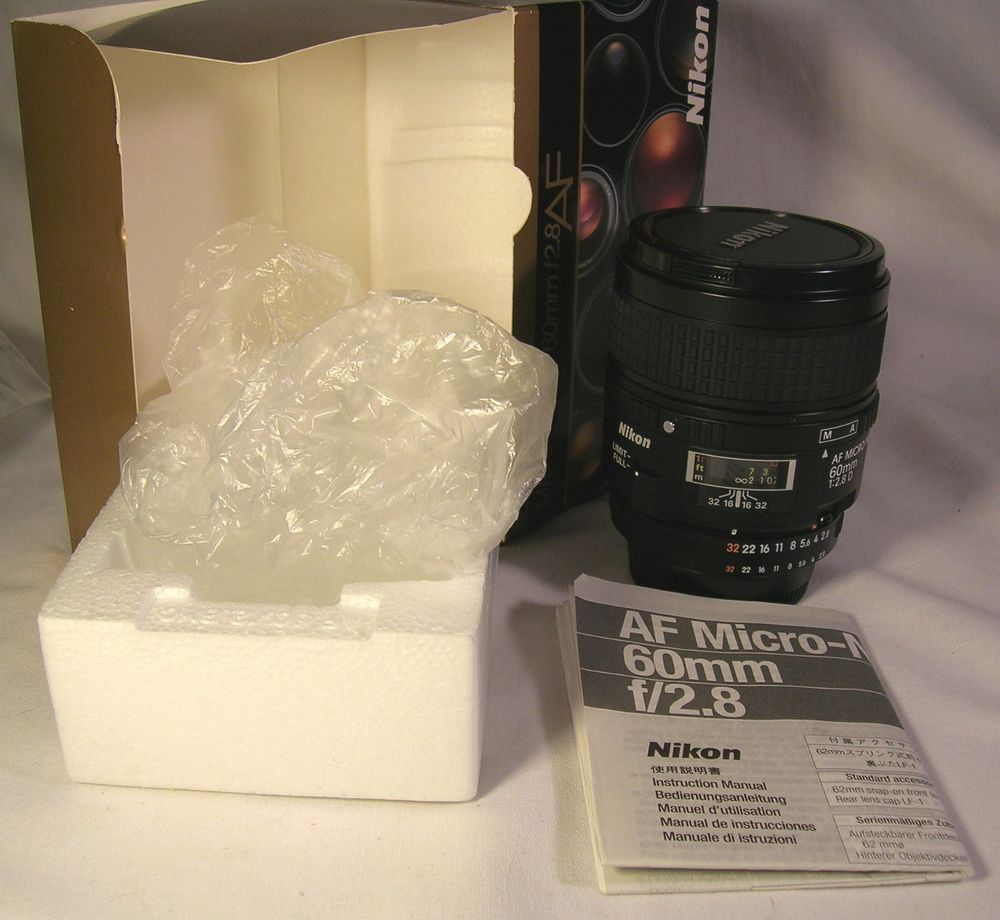 Mint Nikon Af Micro Nikkor 60mm F 2 8 D Ai S Camera Lens W Box Instr Caps Nr Nikon Nikon Ebay Lens