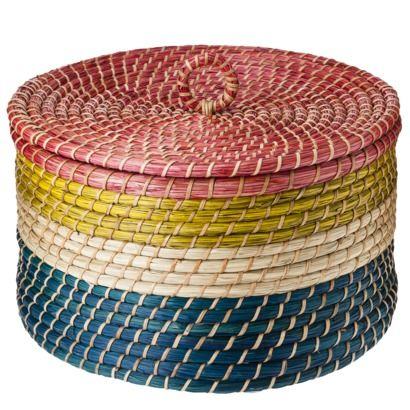 Nate Berkus Multi Colored Cylinder Basket