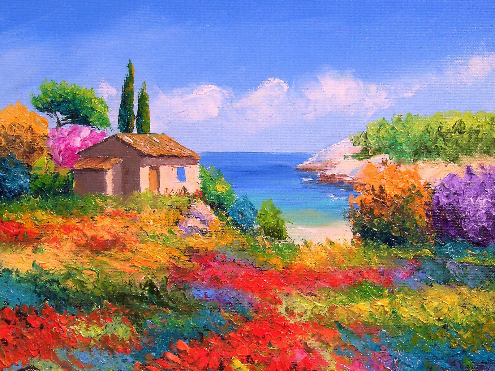France Country Landscape Jean Marc Janiaczyk Landscape Painting With Palette Knife 1600 1200 No 16 Schone Kunstgemalde Landschaftsgemalde Aus Ol Kunstmalerei