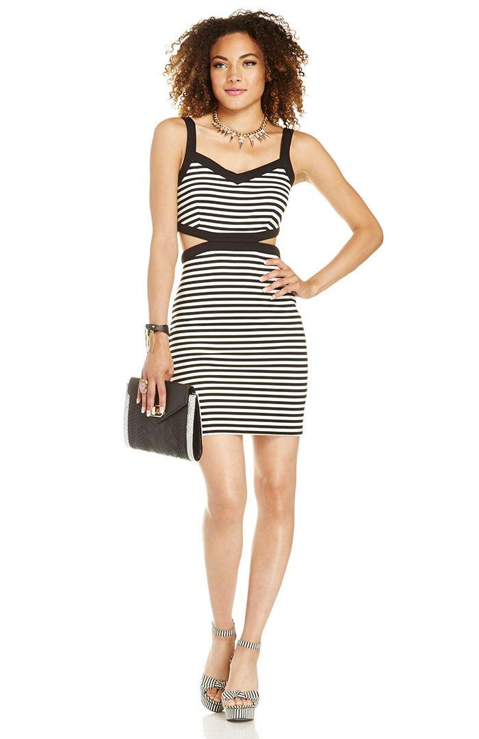 Black + White cutout dress