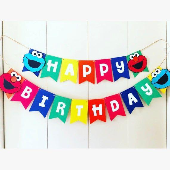 Sesame Street happy birthday banner, Sesame Street cake smash banner,sesame street 1st birthday,elmo