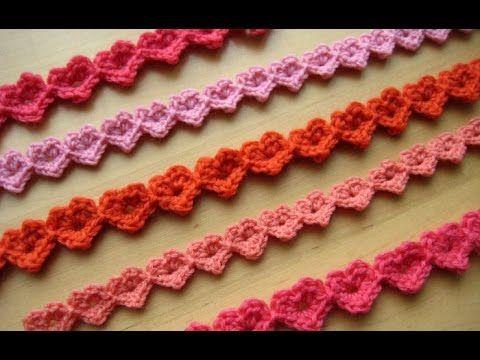 كروشيه سلسله شريط القلوب الزخرفيه خيط وابره Crochet A Heart Strings Decorative Crochet Edging Crochet Tutorial Crochet