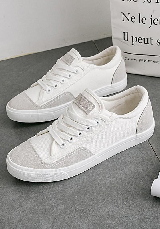 White Round Toe Flat Splicing Lace-up Casual Shoes